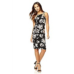 Quiz - Black crepe flower strap dress