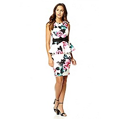 Quiz - White marcella floral bow peplum dress