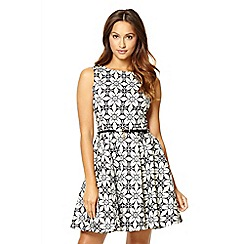 Quiz - Black And Blue Tile Print Skater Dress