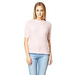 Quiz - Pink fluffy turtle neck  short jumper
