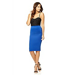 Quiz - Royal blue midi bodycon skirt