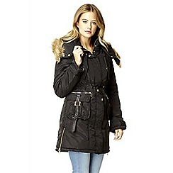 Quiz - Black padded fur zip jacket