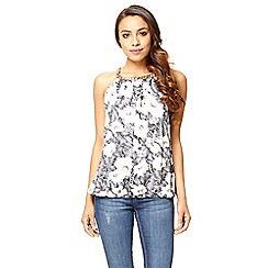 Quiz - Grey floral bubble chain top