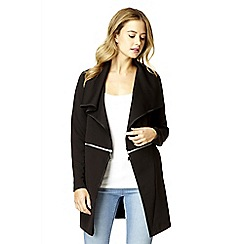 Quiz - Black textured waterfall zip jacket