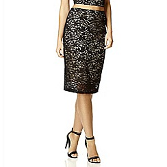 Quiz - Black satin lace midi skirt