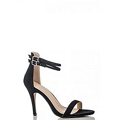 Quiz - Black shimmer strap sandals