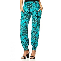 Quiz - Turquoise paisley print trousers