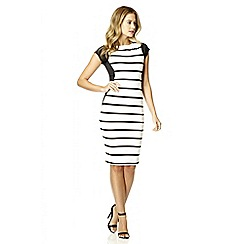 Quiz - Cream ribbed stripe bodycon dress