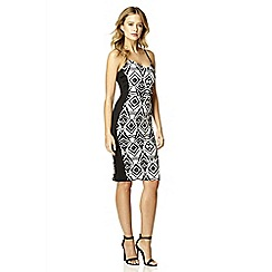 Quiz - White and black print bodycon dress
