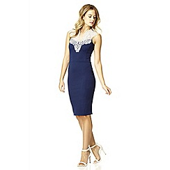 Quiz - Navy lace neck bodycon dress