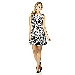 Quiz - White flock print flippy dress