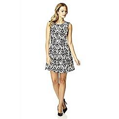 Quiz - White flock print flippy dress