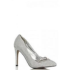 Quiz - Silver shimmer diamante point shoes