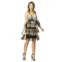 Quiz - Black and gold fringe flapper dress