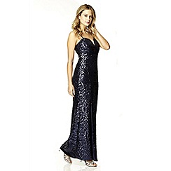 Quiz - Navy sequin split front maxi dress