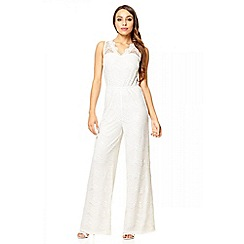 Quiz - Cream Lace V Neck Scallop Jumpsuit