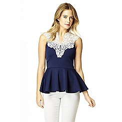 Quiz - Navy Lace Neck Peplum Top