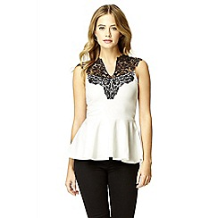 Quiz - Cream Lace Neck Peplum Top