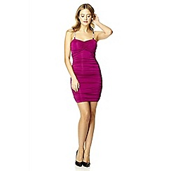 Quiz - Raspberry ruched slinky bodycon dress