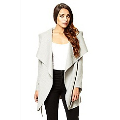 Quiz - Light grey felt waterfall belt jacket