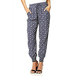Quiz - Navy geometric print harem trousers