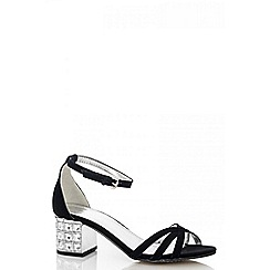 Quiz - Black Felt Diamanté Heel Sandals