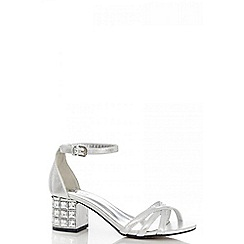 Quiz - Silver Shimmer Diamanté Block Heel Sandals