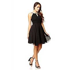 Quiz - Black chiffon cut out dress