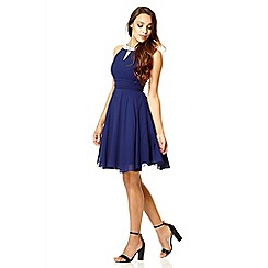 Quiz - Navy chiffon cut out dress