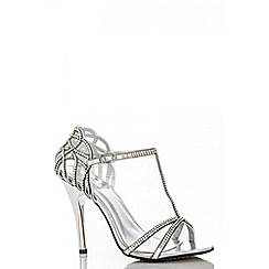Quiz - Silver T-Bar Diamanté Sandals