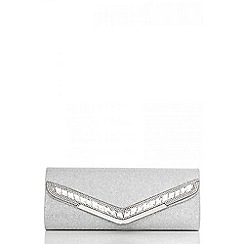 Quiz - Silver slant diamanté shimmer bag
