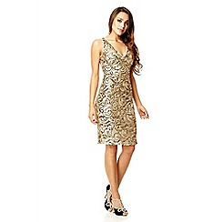Quiz - Gold sequin swirl short dress