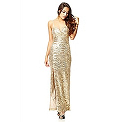 Quiz - Gold sequin split front maxi dress