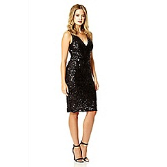 Quiz - Black sequin swirl short dress