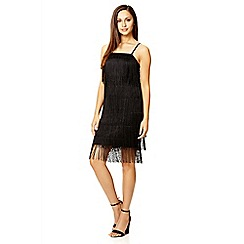 Quiz - Black fringe flapper dress