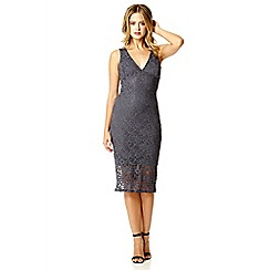 Quiz - Grey lace glitter midi bodycon dress