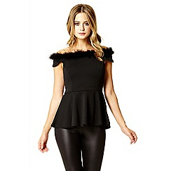 Quiz - Black feather off shoulder peplum top