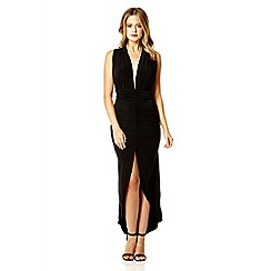 Quiz - Black slinky multi wrap ruched dip dress