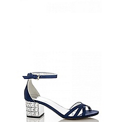 Quiz - Navy satin diamanté block heel sandals