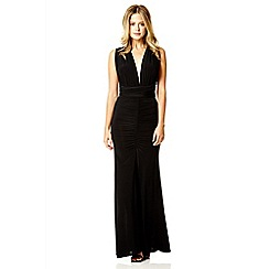Quiz - Black slinky multi wrap maxi dress