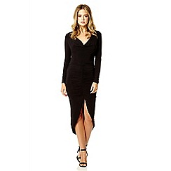 Quiz - Black slinky ruched front dress