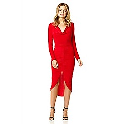 Quiz - Red slinky ruched front dress