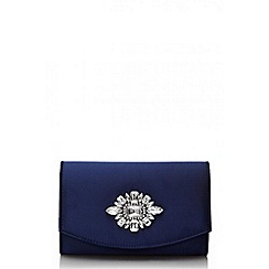 Quiz - Navy satin jewel trim bag
