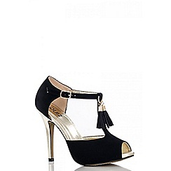 Quiz - Black tassel t-bar heels