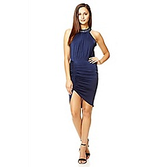 Quiz - Navy slinky ruched diamante collar dress