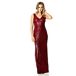 Quiz - Berry sequin zig zag split maxi dress