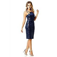 Quiz - Navy velvet sequin zig zag bodycon dress