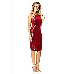 Quiz - Berry velvet sequin zig zag bodycon dress