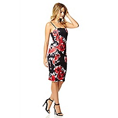 Quiz - Black and red flower print bodycon dress