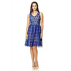 Quiz - Royal blue crochet v neck dress